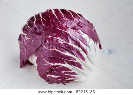 Radicchio Red Salad On Wooden Background. Close-up