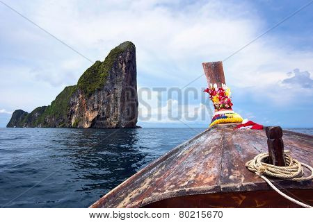 Traditional Long Tail Boat In Koh Phi Phi, Thailand