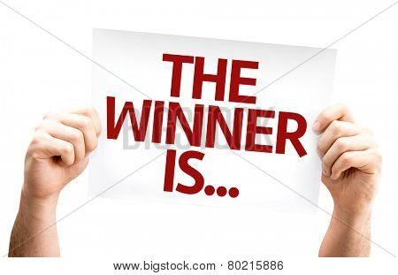 The Winner Is... card isolated on white background
