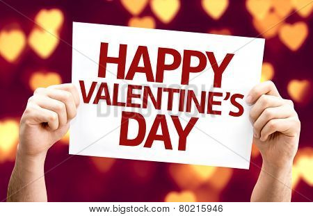 Happy Valentine's Day card with heart bokeh background