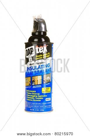 Hayward, CA - January 11, 2015: 12 Oz Can of DAP tex brand insulating foam sealant