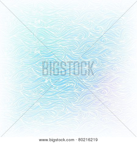 Seamless Abstract Vector Light Blue White Color Hand-drawn Patte