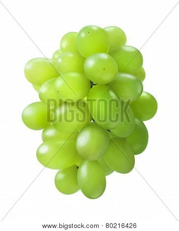 Oval Shaped Green Grapes Bunch Isolated On White Background