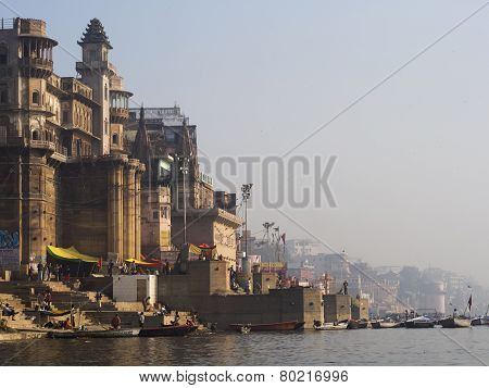 Western Bank Of The Sacred Ganges River In Varanasi, India