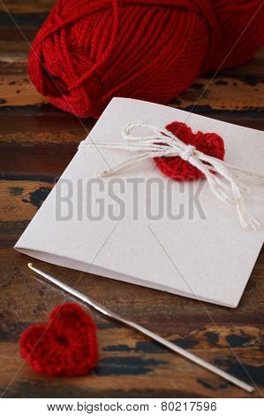 Handmade Greetings Card With Red Crochet Heart For Saint Valentine's Day