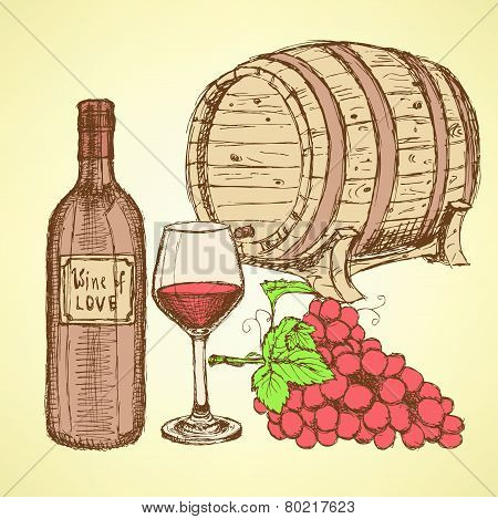 Sketch Wine Barrel In Vintage Style