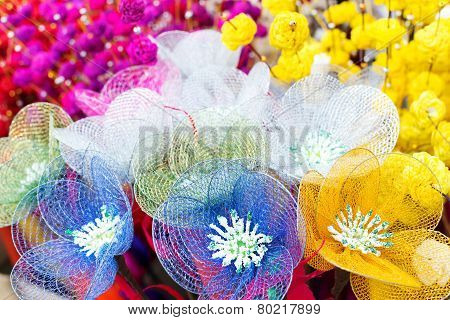 Spongewood Made Artificial Colored Flowers