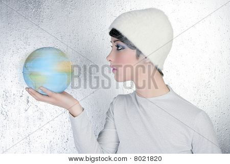 Fashion Modern Silver Woman Holding Global Map