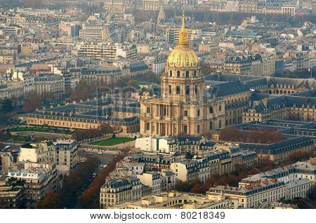 Aerial view of the church of Les Invalides in Paris