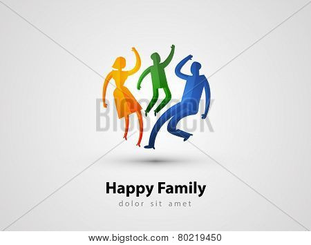 family vector logo design template. parents or child icon.