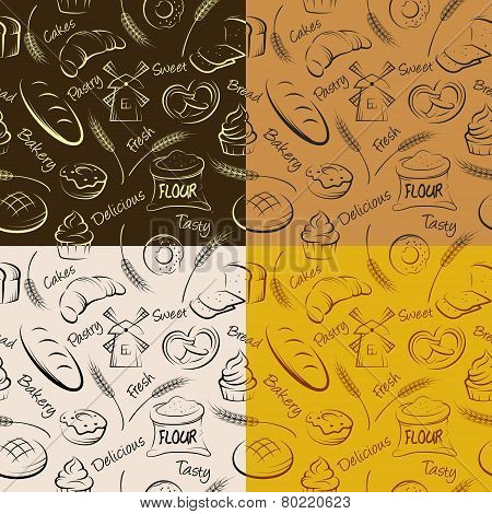 Vector hand drawn pastries seamless pattern