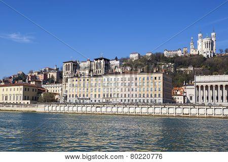 Honrizontal View Of Lyon With Saone River