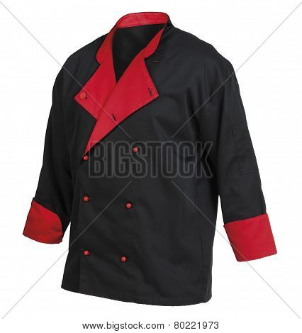 Chef Cook's Black And Red Jacket, Isolated Over White Background