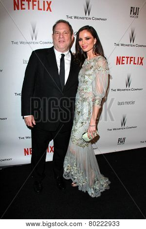 LOS ANGELES - JAN 11:  Harvey Weinstein, Georgina Chapman at the The Weinstein Company / Netflix Golden Globes After Party at a Beverly Hilton Adjacent on January 11, 2015 in Beverly Hills, CA