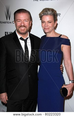 LOS ANGELES - JAN 11:  Ricky Gervais, Jane Fallon at the The Weinstein Company / Netflix Golden Globes After Party at a Beverly Hilton Adjacent on January 11, 2015 in Beverly Hills, CA