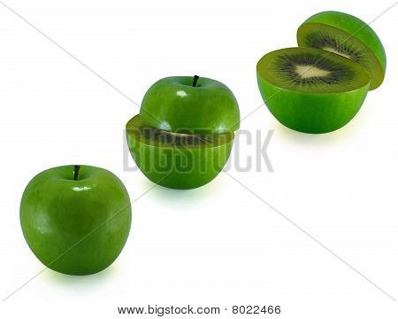 The Transformation Of Green Apples In Kiwi