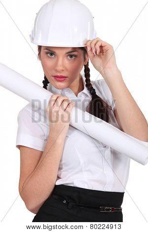 Flirtatious brunette architect