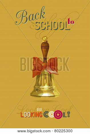 Welcome Back To School Message On Orange Background With Place For Your Text.