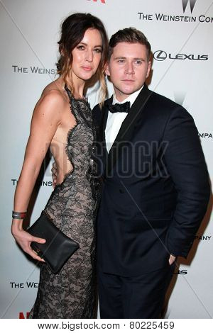 LOS ANGELES - JAN 11:  Charlie Webster, Allen Leech at the The Weinstein Company / Netflix Golden Globes After Party at a Beverly Hilton Adjacent on January 11, 2015 in Beverly Hills, CA