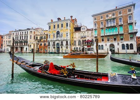 Gondola In Venice Water Canal