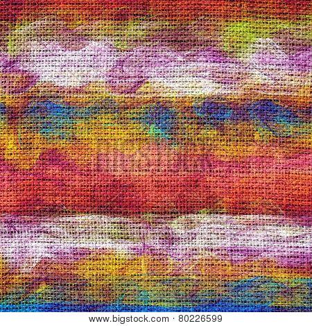 Paint Color Brush Stroke Burlap Jute Fabric Background
