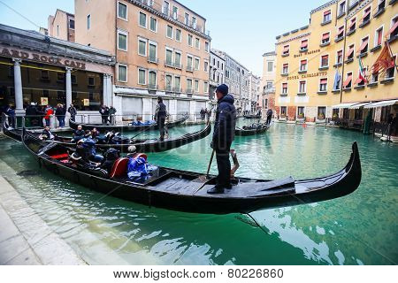Gondola Station In Venice Water Canal