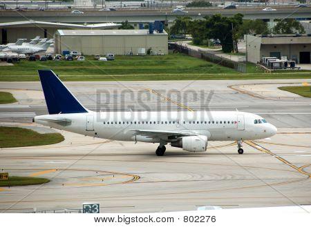 Airbus A-319 jetliner on runway