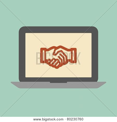 Cooperation concept. Laptop screen