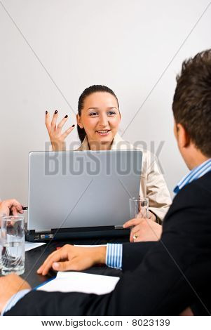 Business Woman Explaining At Meeting