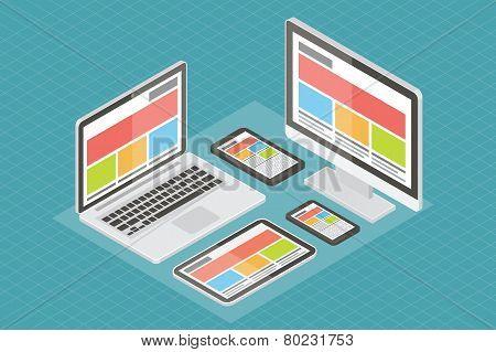 Responsive web design, computer equipment, 3d isometric flat vector.