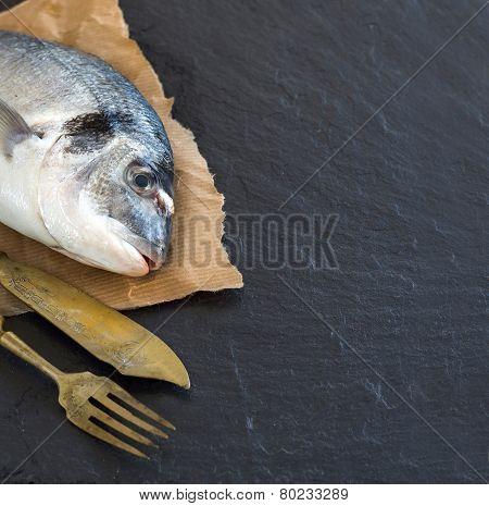 Fresh Dorado Fish On Dark Vintage Background