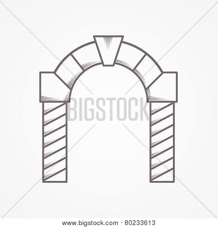 Flat line round  arch vector icon