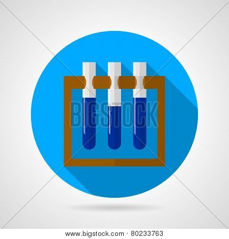Test tubes on stand flat vector icon