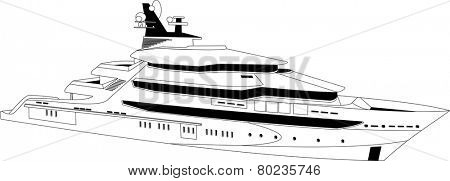 Illustration of a luxury yacht over white background