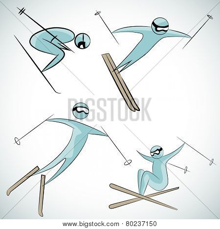An image of skier icon set.