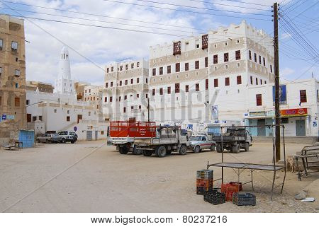 Central square of Shibam town, Hadramaut valley, Yemen.