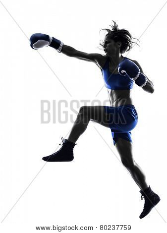 one woman boxer boxing kickboxing in silhouette isolated on white background