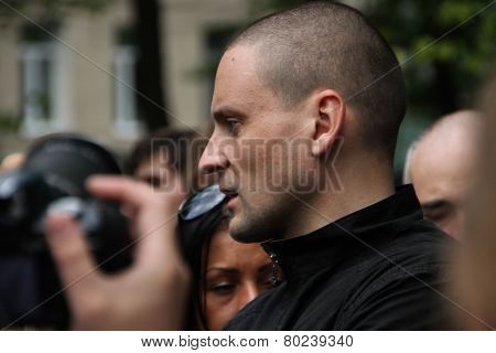 The politician Sergei Udaltsov on an oppositional action