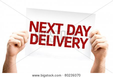 Next Day Delivery card isolated on white background