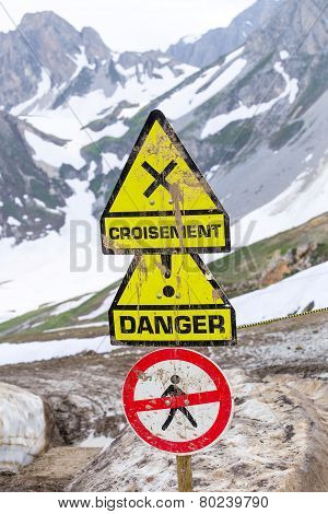 Signs in the mountains.