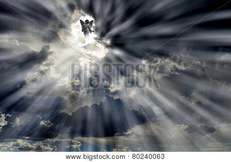 Angel in Sky Clouds with Rays of light symbol love