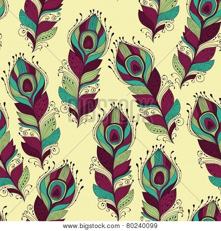 Vector Seamless Pattern With Peacock Feathers