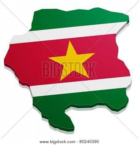 detailed illustration of a map of Suriname with flag, eps10 vector