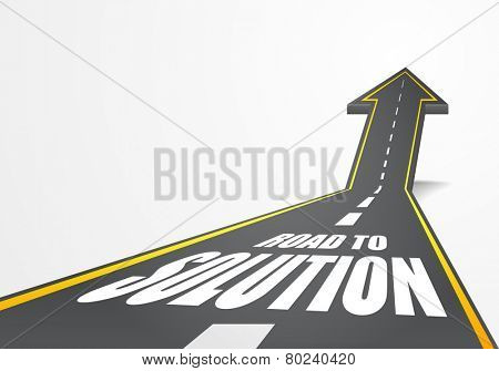 detailed illustration of a highway road going up as an arrow with Road to Solution text, eps10 vector