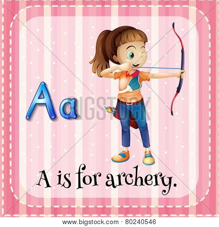 Illustration of an alphabet A is for archery