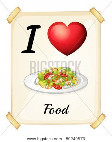 A flashcard showing the love of foods on a white background