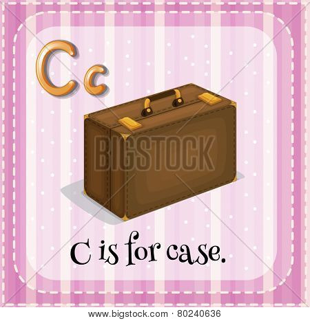 A letter C which stands for case