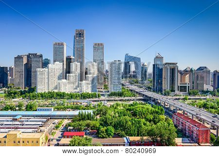 Beijing, China modern financial district skyline.