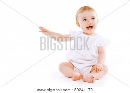 Little Baby Having Fun On A White Background