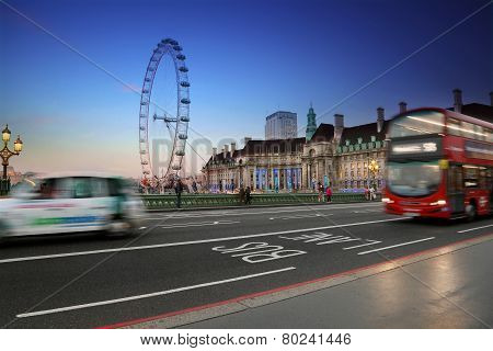 London city at night, England United Kingdom